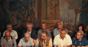Integrantes del triunvirato que conduce la CGT, Héctor Daer, Juan Carlos Schmid y Carlos Acuña,