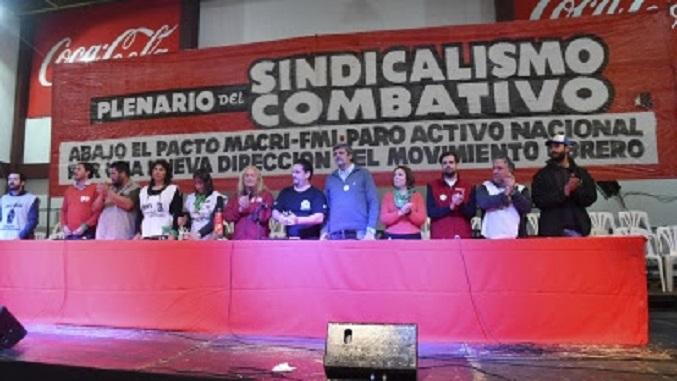 Dirigentes del Sindicalismo Combativo y Antiburocrático en el Plenario