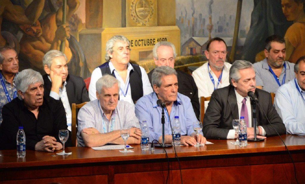El presidente electo, Alberto Fernández en la CGT