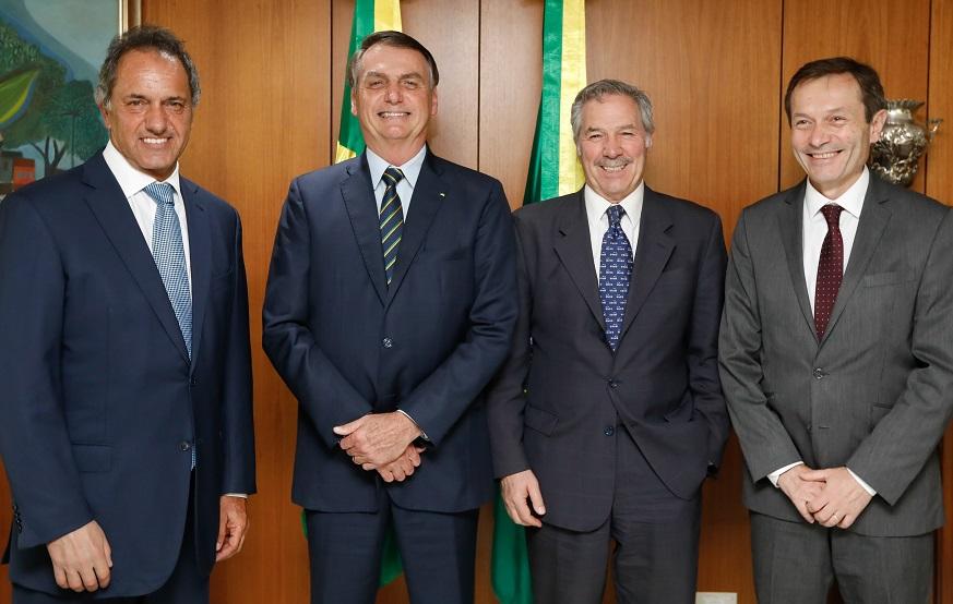 Embajador en Brasil, Daniel Scioli. Presidente Jair Bolsonaro, el Canciller Felipe Solá y el Secretario de Asuntos Estratégicos, Gustavo Beliz