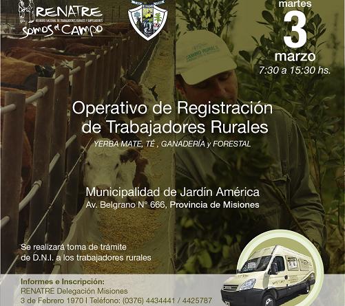 Operativo de Registración Móvil en Jardín América a trabajadores de la Yerba Mate, Té, Ganadería y Forestal