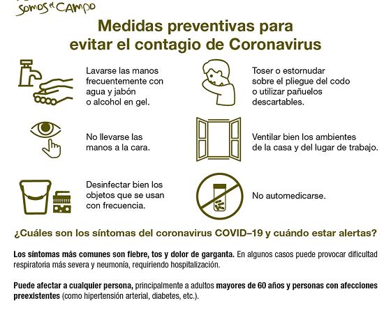 Medidas ante la propagación del Coronavirus
