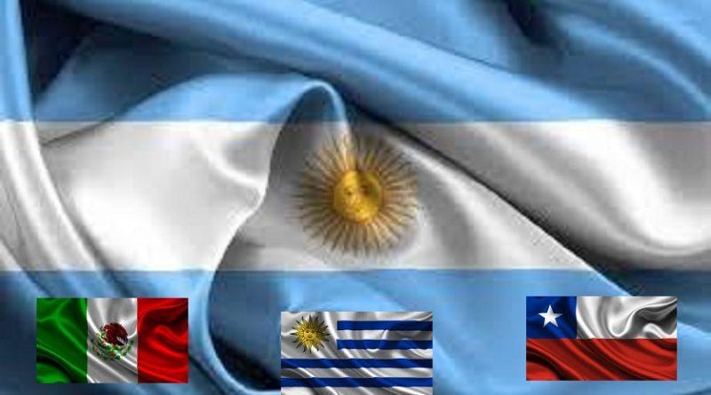 Banderas Argentina, Chile, México y Uruguay