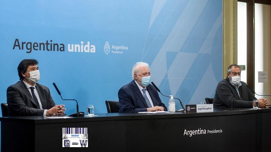 Sec. Gral. de Sanidad, Héctor Daer- Mtro. de Trabajo de la Nación Claudio Moroni y el titular de la cartera de Salud Ginés G. Garcia