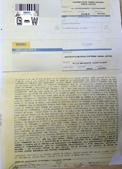 Carta Documento de un socio al presidente de la Cooperativa de Trabajo Integral Wanda Limitada
