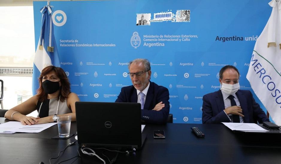 El Secretario de Relaciones Económicas Internacionales, Jorge Neme, y la Secretaria de Asuntos Europeos de Portugal, Ana Paula Zacaría