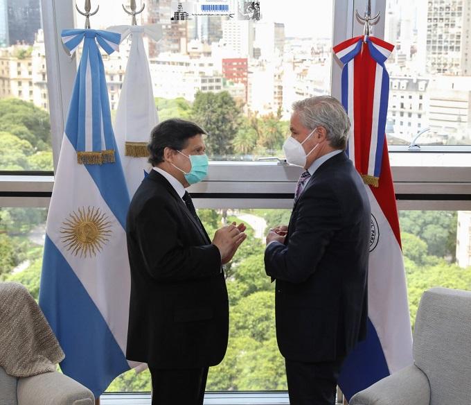 El canciller Felipe Solá y su par de la República del Paraguay, Euclides Roberto Acevedo Candia