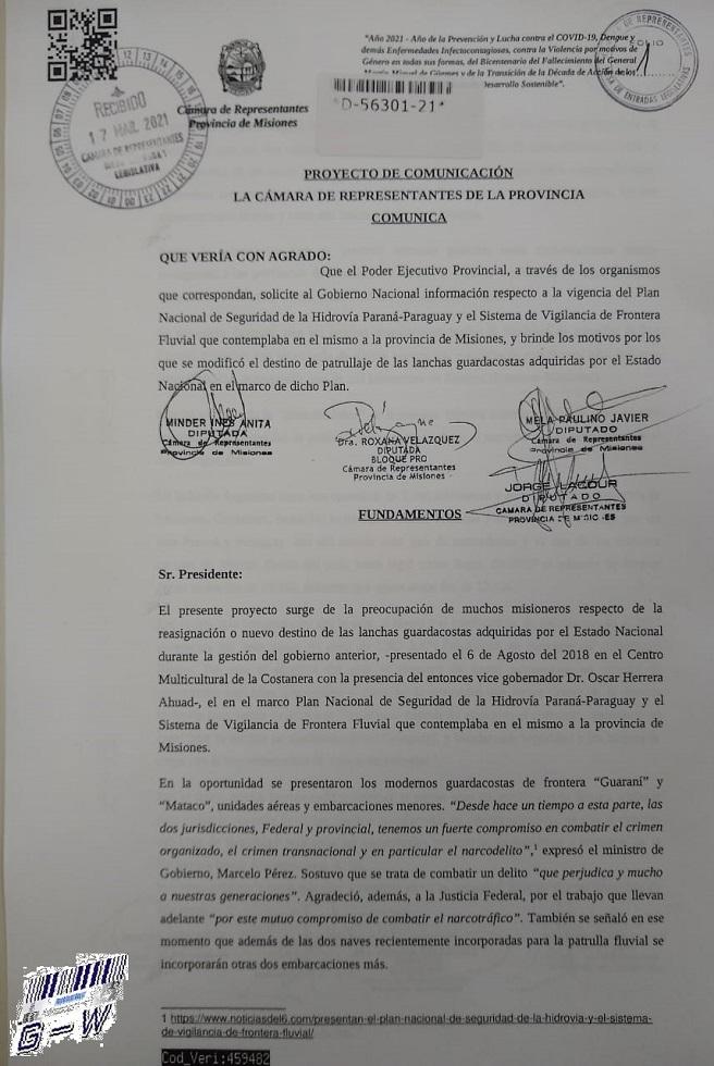 Solicitud al Ejecutivo Provincial pida informes al Estado Nacional respecto a la vigencia del Plan Nacional de Seguridad de la Hidrovía Paraná-Paraguay